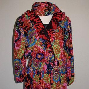 Diane Freis NOS 80s Vintage Ruffled Dress Bold Mix